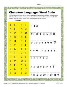 With this free, printable activity students learn about the Cherokee language by completing the puzzle. Click trao view, print and discover more worksheets! Native American Spirituality, Native American Proverb, Native American Cherokee, Native American Symbols, Native American History, American Indians, American Women, American Art, Native Symbols