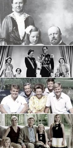 Dutch royal family through the years-top:  Queen Wilhelmina, Crown Princess Juliana and Prince Henry; Princesses Irene and Margriet, Queen Juliana, Prince Bernhard, Princess Christina and Crown Princess Beatrix; Prince Constantijn, Prince Bernhard, Queen Beatrix, Prince Friso, Crown Prince Willem-Alexander; Crown Princess Amalia, Queen Maxima, King Willem-Alexander, Princesses Ariane and Alexia