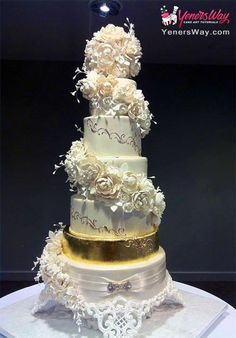6 Tier Spiral Cascading Peonies & Roses Wedding Cake