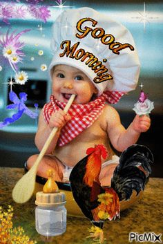 Beautiful Gif, Good Morning, Baby Kids, Blessed, Hugs, Painting, Kisses, Blessings, Babies