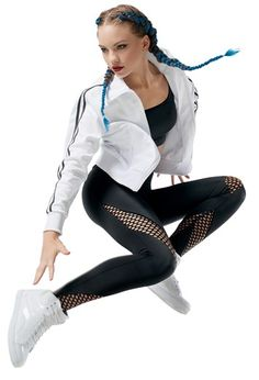 Fishnet Inset Leggings - Balera - Product no longer available for purchase Hip Hop Dancer Outfits, Hip Hop Outfits, Dance Outfits, Dance Dresses, Trendy Outfits, Cute Outfits, Fashion Outfits, Modern Dance Costume, Cute Dance Costumes