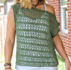 Easy Crochet Top~ The Ivy Tee~ Free Pattern ~ Cactus & Lace Designs Crochet Cardigan Pattern, Vest Pattern, Top Pattern, Free Pattern, Crochet Patterns, Crochet Designs, Crochet Ideas, Yarn Sizes, Easy Crochet
