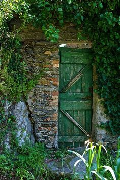 Love this secret garden! Green garden gate in stone wall with lots of greenery ~ enchanted garden entry, Or this one Cool Doors, Unique Doors, The Doors, Windows And Doors, Garden Doors, Garden Gates, Garden Entrance, Driveway Entrance, When One Door Closes