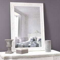Holzspiegel ENZO, H 104cm, weiß