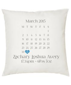Personalized Calendar Date Cushion by LetsMakeItPersonal1 on Etsy