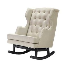 Rocking Chair: Nursery Works Empire Rocker - Dark Legs - Oatmeal ($799) ❤ liked on Polyvore featuring home, furniture, chairs, oatmeal, wingback furniture, tufted wingback, wing back chairs, tufted wingback chair and oversized chairs