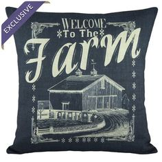 Handmade cotton and linen-blend pillow with a farm motif.    Product: PillowConstruction Material: Cotton and linen