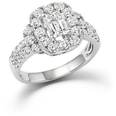 Emerald Cut Diamond Engagement Ring in 18K White Gold, 2.20 ct. t.w. (176 525 ZAR) ❤ liked on Polyvore featuring jewelry, rings, white, emerald cut engagement rings, white gold engagement rings, diamond jewelry, white diamond ring and white gold diamond ring