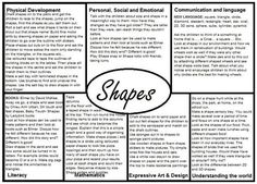Shapes EYFS Medium Term plan An interesting way of looking at planning Eyfs Curriculum, Maths Eyfs, Eyfs Activities, Nursery Activities, Curriculum Planning, Numeracy, Shape Activities, Creative Curriculum, Nursery Themes