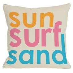 Sun, Surf, Sand Pillow