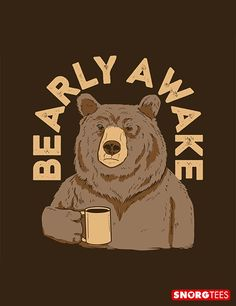"""Bearly Awake"" funny coffee t-shirt"