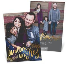 This card is super fancy! Printed on double thick paper & foil on both sides makes this card a show-stopper. A beautiful foil script fills the front adding the perfect shine to any photo! #holiday #PremiumCards #ChristmasCards