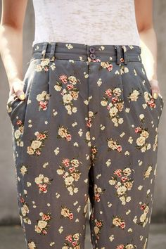 "grey floral trousers.""FUN, for summer Boomer Style"" ~Diva at www.WhiteHair365.com"