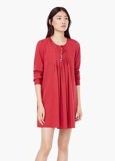 Sukienka z plisowaną wstawką   MANGO