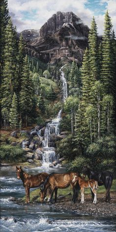 painting of horses and a waterfall Pictures To Paint, Nature Pictures, Beautiful Paintings, Beautiful Landscapes, Landscape Art, Landscape Paintings, Wildlife Art, Horse Art, Western Art