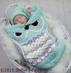 Crochet owl blanket for baby. Owl Crochet Patterns, Crochet Owls, Crochet Bebe, Crochet For Kids, Crochet Crafts, Baby Patterns, Knit Crochet, Crochet Ideas, Unique Crochet