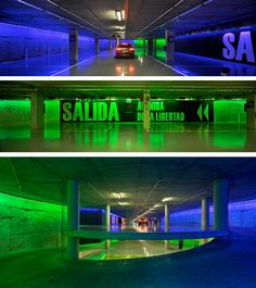 Neon #Parking - Murcia, Spain (via. http://www.clavel-arquitectos.com)