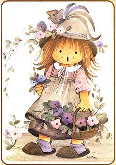A Basket fill of Flowers, Vintage small Print or big Postcard of a Big Eyed Girl by Jaklien Illustration Mignonne, Cute Illustration, Storybook Gardens, Holly Hobbie, Pintura Country, Sarah Kay, Fairy Dolls, Tole Painting, Doll Face