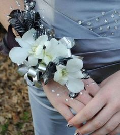 White and black corsage