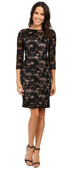 Adrianna Papell Lined Carol Lace Sheath Dress with Jeweled Neckline (Black/Pale Pink) Women's Dress - Adrianna Papell, Lined Carol Lace Sheath Dress with Jeweled Neckline, AP1D100050-264, Apparel Top Dress, Dress, Top, Apparel, Clothes Clothing, Gift, - Street Fashion And Style Ideas