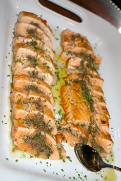 Salmon with Basil Tapenade.