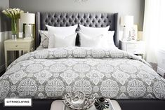Create a curated bedroom using pattern, texture and mismatched furniture pieces for a collected look that reflects your individual style and personality. Guest Bedroom Decor, Bedroom Retreat, Guest Bedrooms, Master Bedrooms, Bedroom Furniture Inspiration, Grey Carpet Bedroom, Mismatched Furniture, Stylish Bedroom, Bedroom Color Schemes