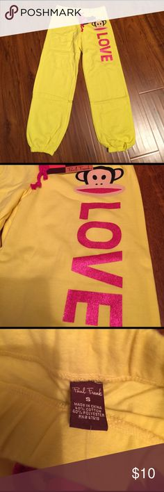 New Paul frank love ahoy fleece cotton pant Style F80082, color 700 yellow, size s, measurements: hip cross 18 inch, inseam 27.5 inch, new with tag Paul Frank Pants Track Pants & Joggers