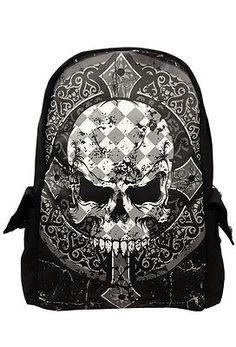 Skulls Backpack Grey Black Skull and Crossbones Emo Goth Cartoon Geek Bag Rucksack Sports College School Bag