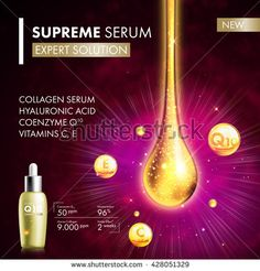 Coenzyme Q10 serum collagen essence gold drop. Skin care collagen hyaluronic moisture treatment. Golden drops design. Anti age coenzyme droplets solution. Package moisturizer cosmetics design.