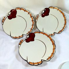"""Pottery Barn """"GOBBLE"""" Turkey Shaped Salad/Dessert Plates in Wooden Box. Great for serving appetizers, salad or dessert. Thanksgiving Salad, Thanksgiving Turkey, Turkey Plates, Dining Room Table, Wooden Boxes, Pottery Barn, Appetizers, China, Dishes"""