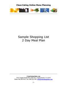 Clean Eating Online  Day Sample Menu Plan  HttpWww