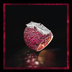 Two emerald-cut and cts diamonds blossom on a flowerbed of rubies. Ruby Jewelry, High Jewelry, Jewelry Rings, Lotus Jewelry, Jewellery, Lost Wax Casting, Pave Ring, Black Diamond, Class Ring