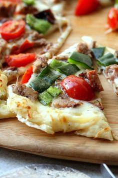 White Brisket Pizza with Poblano-Garlic Sauce