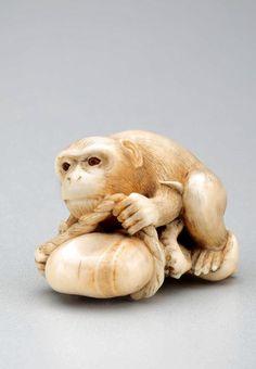 Japanese Netsuke: monkey, octopus and broken rope. Mitsunaga (Komin). Late 19th century. Toledo Museum of Art.