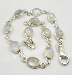 "925 Sterling Silver Fiery RAINBOW MOONSTONE Cute Delicate Bracelet 7.5"" Inches #ChainLink"
