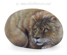 I Painted this Wild Lion on a Natural Sea Rock. An Unrepeatable Piece of Art and a great Gift Idea for all of you, Nature Lovers! My painted stones are unique pieces of art. I paint all of them with high quality acrylics and very small brushes. They are painted on smooth sea rocks, FINELY DETAILED, protected with a strong transparent varnish coat, signed on the back and accompanied by a CERTIFICATE OF AUTENTICITY. #lions #lion #paintedstones #rockpainting #art #fineart #robertorizzo #etsy