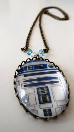 R2D2 Brass Cameo Necklace Sci Fi Star Wars
