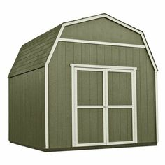 """10ft x 10ft Gambrel Wood Storage Shed   Gambrel style shed 6' high side walls Extra wide 64"""" double barn doors Treated floor joists Includes 4' x 8' loft for extra storage Patented EZ Frame construction 2 x 3 framing is strong and economical 6' continuous full-length door hinges Primed and paintable engineered wood siding   Dimensions:   Actual Exterior Length: 120.36"""" Actual Exterior Peak Height: 126.84"""" Actual Exterior Width: 121.8"""" Actual Interior Length: 116.52"""" Actual ..."""