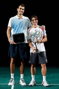 "04/2012: Final Masters Series Paris ( Tennis Carpet Court )  D. Ferrer-J. Janowicz -6/4-6/3  David Ferrer  Height/Weight:5'9"" (175 cm) 160 lbs (73 kg) while Jerzy Janowicz is 6'8"" (203 cm) 200 lbs (91 kg)."