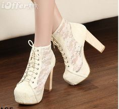 New Sexy Lace-up Flower Lace Womens Shoes Pumps Chunky High Heeled Ankle Boots High Heel Boots, Heeled Boots, Shoe Boots, High Heels, Shoes Heels, Ankle Boots, Pretty Shoes, Beautiful Shoes, Beautiful Beautiful