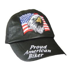 """Proud American Biker Hats for Men - Patriotic Baseball Cap - Adjustable by Diamond Plate. $8.85. Live to Ride Cap w/ back Velcro closure is adjustable in size from XS (19in) - 2X, 3X (25in) - One Size fits most. Live to Ride Leather Baseball Cap in Black by Diamond Plate. Leather Baseball Cap has 2.5 inch brim featuring embroidered phrase """"Proud American Biker"""". Diamond Plate Hat -Leather Live to Ride Cap has smooth interior sweatband & 6 panel low profile desi..."""