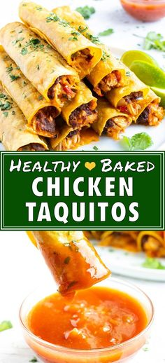 This Baked Chicken Taquitos recipe is an easy and healthy way to enjoy the frozen classic!  Pre-cooked shredded chicken gets mixed together with diced onion, chunky salsa, refried black beans, and cheddar cheese for a quick and delicious homemade taquito filling. #ChickenTaquitos ##ChickenTaquitosrecipe Easy Oven Baked Chicken, Healthy Baked Chicken, Shredded Chicken Tacos, Chicken Taquitos, Cooking Recipes, Healthy Recipes, Healthy Cooking, Healthy Meals, Healthy Food