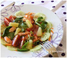 POTINGUES Y FOGONES: Ensalada variada con langostinos