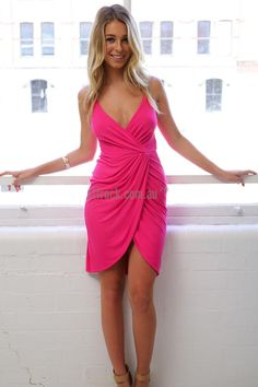 Flawless Drape Dress in Pink $25  'Pink isn't just a colour, it's an attitude!' – Miley Cyrus  This hot pink mini dress will get you feeling sassy and confident with its flattering body hugging fit that will show off your curves. The Flawless Drape Dress made in yielding jersey stretch fabric, with adjustable straps and a zipped back - all comfortable features. The draping at the front and the cinched waist are very complimentary for the wearer.