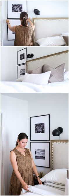 I've got a free gallery wall template for you! If you're looking for gallery wall ideas and you love modern traditional decor, you've got to see my oversized mat gallery wall. I used large square frames and custom matting to create this next-to-the-bed gallery wall. #inspiration #transitional #grid #bedroom