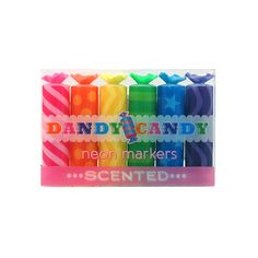 Dandy Candy Scented Neon Markers! Wrapped in candy styled casings, Dandy Candy Neon Markers are some sweet smelling marker goodness. These pocket sized wonders are great for highlighting and coloring works of art. With a finely chiseled tip, you can make fine points or broad strokes of scented marker fun. They come in six fruity scented colors; Grape, Blueberry, Apple, Lemon, Orange and Strawberry. #68841035 | $4.95
