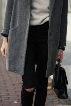 ateaspoonoffashion:  the—one:  the—one:  Grey Coat Black denim pants via Sheinside