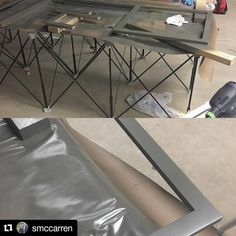 #CentipedeSupport provides a large #temporary #woodshop #workspace for #finishing #projects. Repost via @smccarren:    Teaching myself how to paint cabinetry I've built with my hvlp @fujisprayofficial mini mite 3. Shooting SW All Surface Enamel...I guess their Pro Classic product doesn't come in a deep base. Not too happy that I had to thin 15%, biggest air cap I had was 1.5...learning.  ・・・  (@get_repost)  #CentipedeTool #portable #workshop #workbench #stand #sawhorse #cabinetry #cabinets