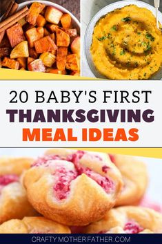 Use these baby food thanksgiving ideas to give your infant a thanksgiving baby food recipes that they will love. From starting solids to advanced chewer. Get your baby started on holiday Thanksgiving meal ideas for infants #thanksgivingmeals #thanksgivingfood