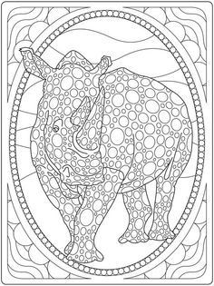 Rino Design Colouring Page Embroidery Pattern